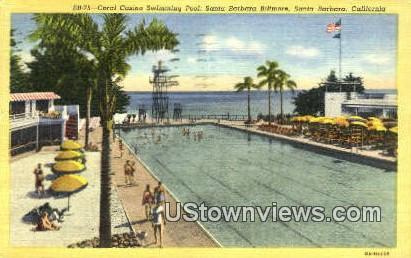 Coral Casino Swimming Pool - Santa Barbara, California CA Postcard