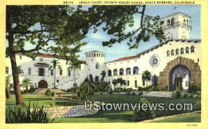 Inner Court, County Court House - Santa Barbara, California CA Postcard