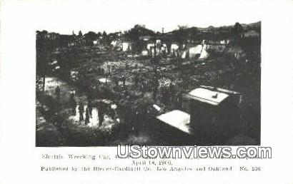 Electric Wrecking, April 18, 1906 - Los Angeles, California CA Postcard