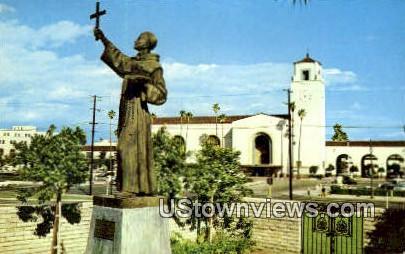 Statue of Fr. Junipero Serra - Los Angeles, California CA Postcard