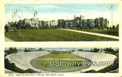 High School & Stadium - San Diego, California CA Postcard