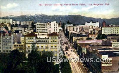 Hill Street - Los Angeles, California CA Postcard