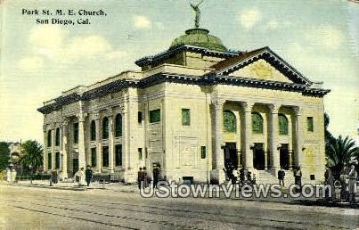Park St. ME Church - San Diego, California CA Postcard