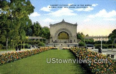 Balboa Park, Organ - San Diego, California CA Postcard