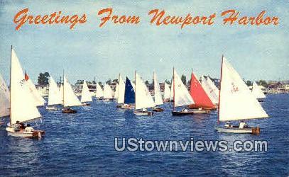 Newport Harbor - California CA Postcard