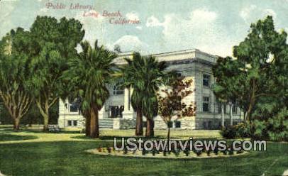 Public Library - Long Beach, California CA Postcard