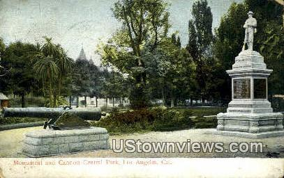 Monument and Cannon Central Park - Los Angeles, California CA Postcard