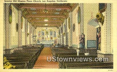 Old Mission Plaza Church - Los Angeles, California CA Postcard
