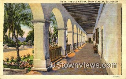 Old Mission - Santa Barbara, California CA Postcard