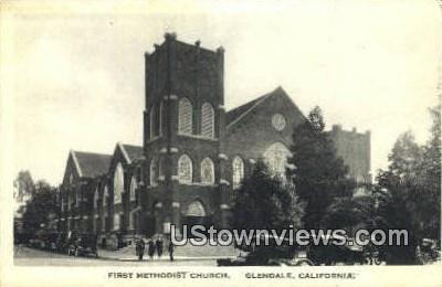 First Methodist Church - Glendale, California CA Postcard