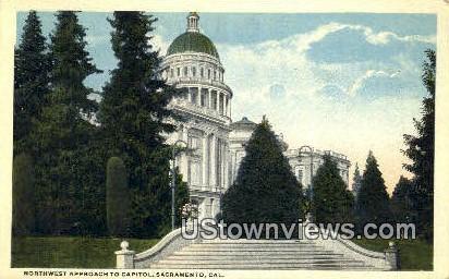 Northwest Approach to Capitol - Sacramento, California CA Postcard