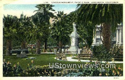Lincoln Monument - Long Beach, California CA Postcard