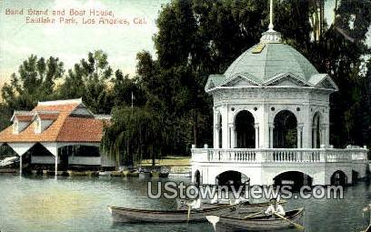 Band Stand, Boat House - Los Angeles, California CA Postcard