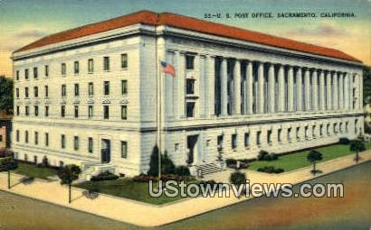 US Post Office - Sacramento, California CA Postcard
