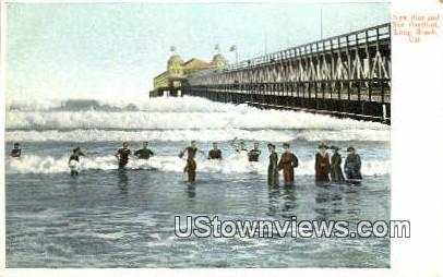 New Pier & Sun Pavilion - Long Beach, California CA Postcard