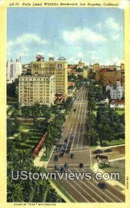 Palm Lined Wilshire Blvd - Los Angeles, California CA Postcard
