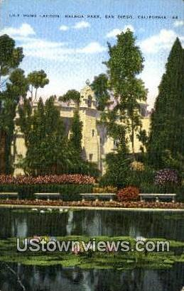 Lily Pond Lagoon, Balboa Park - San Diego, California CA Postcard