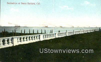 Battleships - Santa Barbara, California CA Postcard