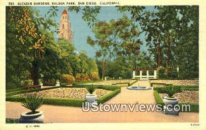 Alcazar Gardens, Balboa Park - San Diego, California CA Postcard