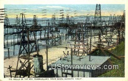 Oil Wells, Summerland - Santa Barbara, California CA Postcard