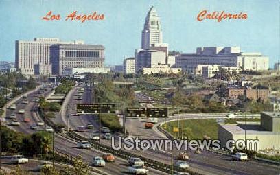 Freeways, Civic Center - Los Angeles, California CA Postcard