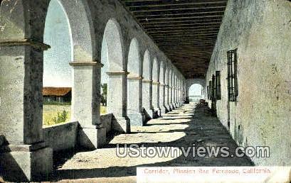 Corridor - Mission San Fernando, California CA Postcard
