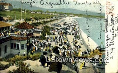 Beach & Plaza - Santa Barbara, California CA Postcard