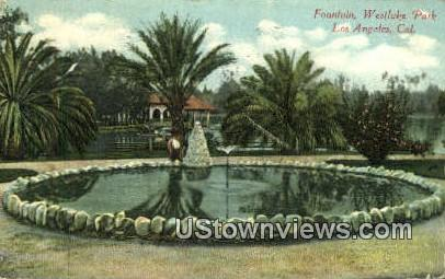 Fountain, Westlake Park - Los Angeles, California CA Postcard