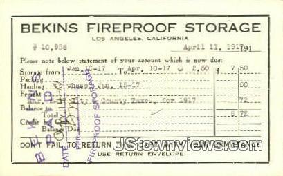 Bekins Fireproof Storage - Los Angeles, California CA Postcard