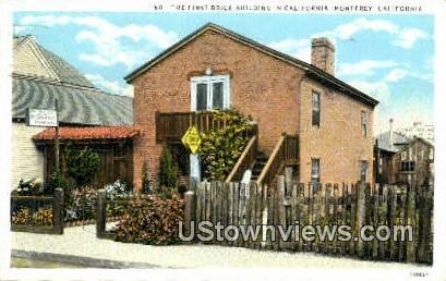 First Brick Bldg - Monterey, California CA Postcard