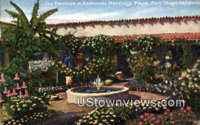 Fountain, Ramona's Marriage Place - San Diego, California CA Postcard