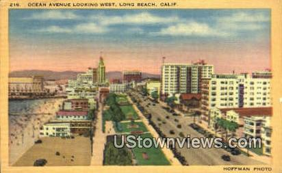 Ocean Ave. - Long Beach, California CA Postcard