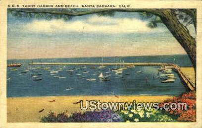 Yacht Harbor & Beach - Santa Barbara, California CA Postcard