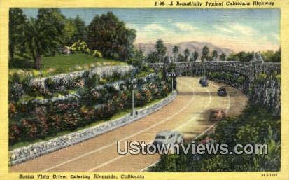 Buena Vista Drive - Riverside, California CA Postcard