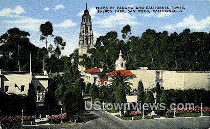 Plaza De Panama - San Diego, California CA Postcard