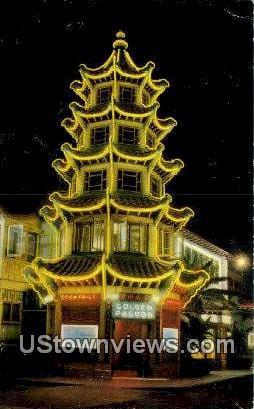 Golden Pagoda - Los Angeles, California CA Postcard