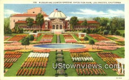 Museum & Sunken Gardens - Los Angeles, California CA Postcard