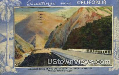 Piru Canyon Bridge - Los Angeles, California CA Postcard