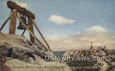 Mission Bell Serra Cross - Riverside, California CA Postcard