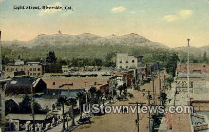 Eight Street - Riverside, California CA Postcard