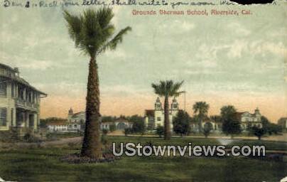 Grounds Sherman School - Riverside, California CA Postcard