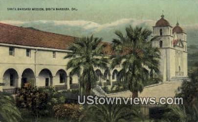 Santa Barbara Mission - California CA Postcard