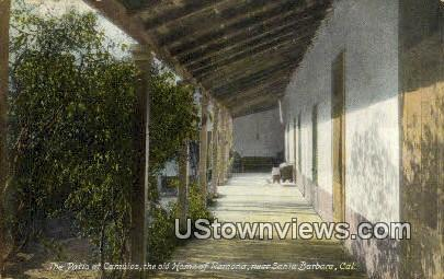 Patio, Home of Ramona - Santa Barbara, California CA Postcard