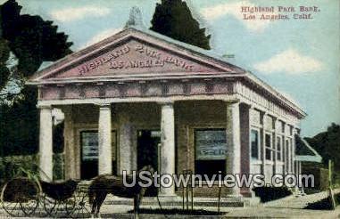 Highland Park Bank - Los Angeles, California CA Postcard