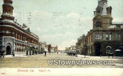 Eighth Street - Riverside, California CA Postcard