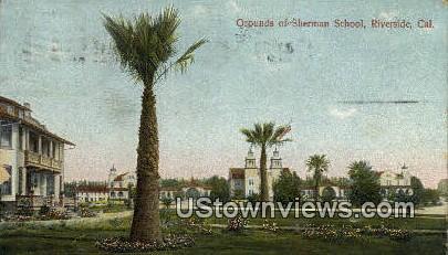 Sherman School - Riverside, California CA Postcard