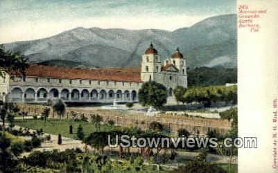 Mission & Grounds - Santa Barbara, California CA Postcard