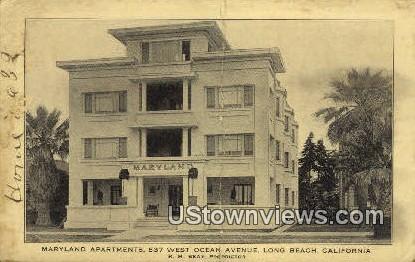 Maryland Apartments - Long Beach, California CA Postcard