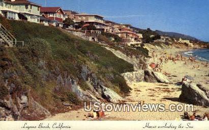 Homes overlooking the Sea - Laguna Beach, California CA Postcard