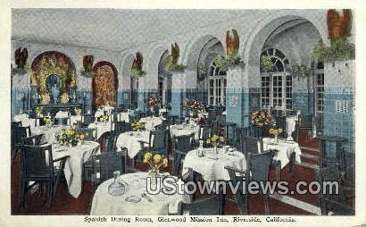 Spanish Dining Room - Riverside, California CA Postcard